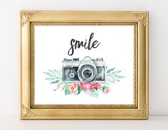 Camera Print 8x10 Instant Download Smile by MossAndTwigPrints