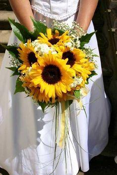 sunflower wedding bouquet for rustic wedding
