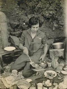 1926. Death Valley. Camping on the desert floor. And she makes beautiful pancakes. With Log Cabin syrup and Hills Bros. coffee.