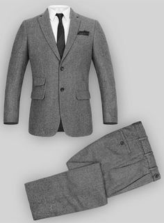Vintage Plain Gray Tweed Suit