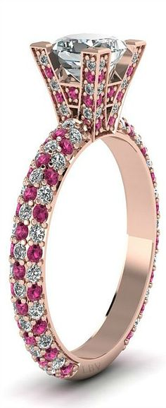 Princess Cut and Round Diamonds and Pink Sapphire Side Stone Engagement Ring in Prong Setting | LBV S14 ♥✤