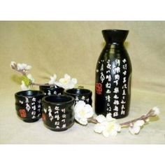 5 Pcs Sake Set Tougeiigraphy Black White Letter By Japanbargain Http
