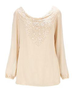 Peachy nude embroidered cowl top available only at Pernia's Pop-Up Shop.