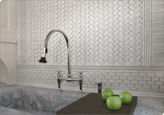 Metro, 2x4 Stellar Field Tile, Dada, Zwag & 1x2 Arched MoSuprema in Platinum  K6 by Sonoma Tilemakers  #tile #backsplash