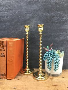 Tall Candle Holders, Vintage Candle Holders, Candlestick Holders, Candlesticks, Holiday Tables, Brass, Table Decorations, Etsy, Candle Holders