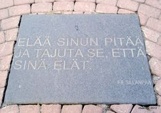 F.E.Sillanpää. Live you must, and  realise that you live.