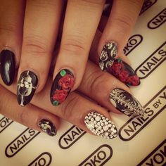 skeleton and rose nails by yoko