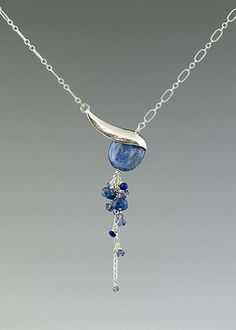 Blue Angled Drop Necklace with Gemstones by Catherine Grisez: Silver & Stone Necklace available at www.artfulhome.com