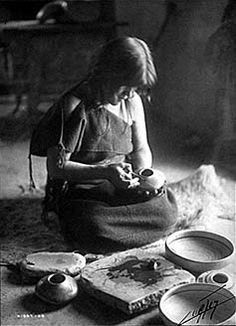 Nampeyo was known internationally as a premier potter. She based her work on techniques used by Hopi and Tewa artisans. No date or photographer noted.