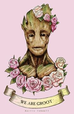 """Flower-crown Groot. (""""Guardians of the Galaxy"""") Art by aorticinkwell."""