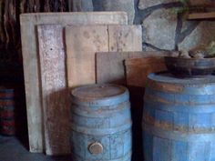 Blue Barrels and Wood Dough boards. Primitive Antiques, Country Primitive, Primitive Quilts, Primitive Decor, Antique Paint, Antique Decor, Primitive Kitchen Cabinets, Wooden Bread Board, Diy Cutting Board