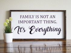 Family is everything sign, Family is everything wood sign, Family is everything frame, Farmhouse de Stain On Pine, Dark Walnut Stain, Painted Wood Signs, Wooden Signs, Hand Painted, Farmhouse Signs, Farmhouse Decor, Farmhouse Style, Board And Brush