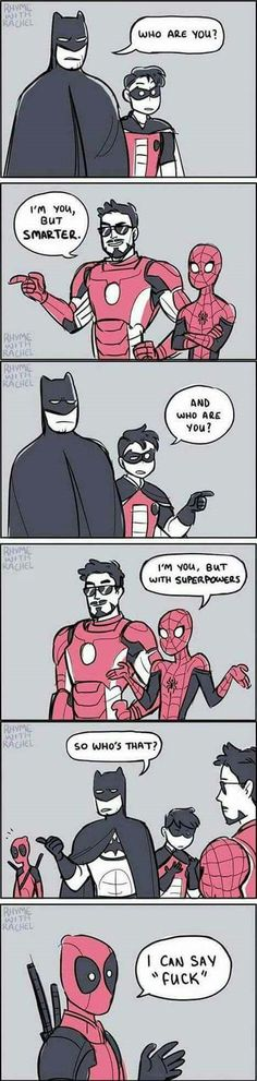 Batman, Iron Man and Deadpool – – PinPictures.Club Batman, Iron Man and Deadpool – Batman, Iron Man and Deadpool – Avengers Humor, The Avengers, Marvel Jokes, Funny Marvel Memes, Funny Comics, Deadpool Humor, Funny Batman, Batman Humor, Deadpool Comics