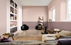 How to decorate with Dulux Colour of the year 2018 Heart Wood a grey-pink or grey-mauve colour that is both comforting and inviting. It represents the warmth of natural wood. Turn your home into a cocoon, a sanctuary. Interiors tips and ideas, home decor Bathroom Interior Design, Interior Decorating, Interior Pastel, Living Spaces, Living Room Decor, Mad About The House, Deco Design, Color Of The Year, Black Decor