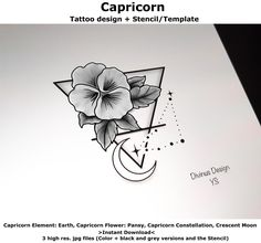 Capricorn Sign Tattoo, Astrology Tattoo, Horoscope Tattoos, Zodiac Tattoos, Capricorn Art, Great Tattoos, Unique Tattoos, Body Art Tattoos, Skull Tattoos