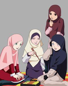 "Title : konoha high school ""sasusaku the series"" inspiration : serial naruto Essay : masashi kishimoto Remake : fanction serial naruto & sasusaku lovers Genre. Best Friend Drawings, Bff Drawings, Girl Cartoon, Cartoon Art, Konoha High School, Hijab Drawing, Friend Anime, Friend Cartoon, Islamic Cartoon"