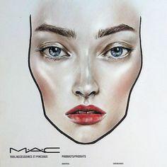 MAC face chart by Amalia Bot Makeup Trends, Makeup Inspo, Mac Face Charts, Make Natural, Makeup Face Charts, Makeup Drawing, Makeup Course, Magical Makeup, Make Up Art