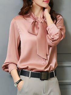 Elegant Long Sleeve Solid Tie-neck Shift Plus Size Blouse