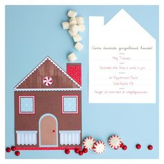 Free Printable: gingerbread house decorating party invitation