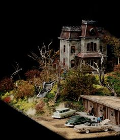 """Bradley Thomas Enfield - Bates Motel ~ From The Movie Psycho ~ 2013 Artwork / Original Diorama .© All Rights Reserved. Size ~ 22 """" long x 15"""" High x 15 """" Wide Plastic Model Kits ~ Acrylic & Oil Paints ~ Model Railroad Scenery Supplies Country ~ USA."""