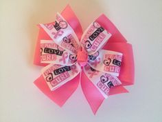 Peace, Love, Cure Breast Cancer Awareness Bow