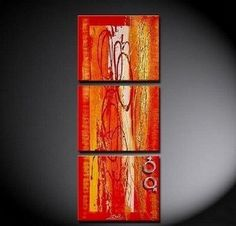 100% Hand Painted Artwork Red Abstract Art 3 Piece Wall Art Oil Painting Modern Art Canvas Art Gallery Wrapped Stretched and Ready to Hang by Paintingworld, http://www.amazon.com/dp/B00B9NK7D2/ref=cm_sw_r_pi_dp_jk-Xrb15TXBWN