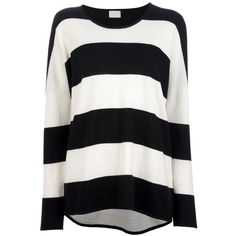 LALA BERLIN 'Trimar' oversized sweater ($360) ❤ liked on Polyvore featuring tops, sweaters, shirts, jumpers, pattern sweater, print sweater, long sleeve tops, horizontal stripe shirt and shirt sweater