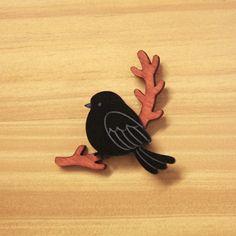 Laser Cut Brooch Bird on Branch Wood and Acrylic by TallRabbit, $27.00