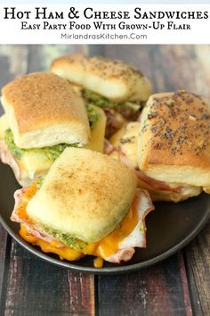 Easy dinner or easy party food? You decide! These hearty hot sandwiches made with Boars Head ham and a variety of cheeses and toppings will fill up all your meat lovers and leave them satisfied. Hot Ham Sandwiches, Wrap Sandwiches, Gourmet Sandwiches, Paninis, Tostadas, Crepes, Brunch, Easy Party Food, Tortilla
