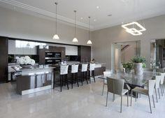 Modern Luxury Kitchens For A Grand Kitchen Open Plan Kitchen Dining Living, Living Room Kitchen, Home Decor Kitchen, Kitchen Interior, Elegant Kitchens, Luxury Kitchens, Mansion Kitchen, Luxury Dining Room, Luxury Living