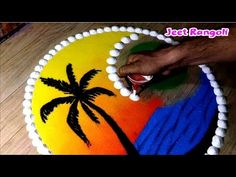 Dussehra aur Diwali special easy rangoli design by Jeet. Easy Rangoli Designs Videos, Easy Rangoli Designs Diwali, Rangoli Designs Latest, Simple Rangoli Designs Images, Rangoli Designs Flower, Free Hand Rangoli Design, Colorful Rangoli Designs, Small Rangoli, Mehndi Designs