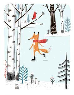 Un mignon renard s'adonnant à des sports d'hiver: une autre illustration de la saison froide qui irait bien sur n'importe quelle pièce de céramique