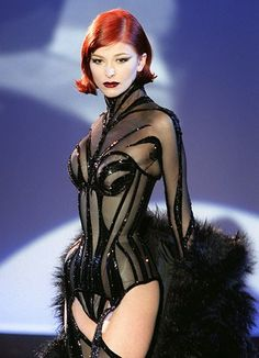 A sheer black tiger-stripe body suit with high collar and matching furry shawl, by Thierry Mugler for his Fall/Winter haute couture collection, shown 22 July in Paris. Consigue fotografías de noticias de alta resolución y gran calidad en Getty Images Look Fashion, 90s Fashion, Runway Fashion, Fashion Show, Fashion Outfits, Womens Fashion, Fashion Design, High Fashion Looks, Dress Fashion