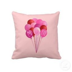 Mothers Day Mom Pink Balloons Pillow