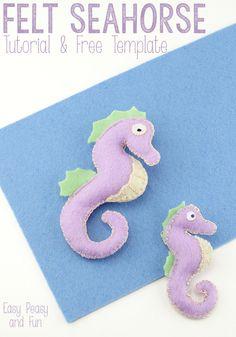 Seahorse Tutorial {With Template} - Easy Peasy and Fun Felt Patterns Free, Felt Animal Patterns, Fish Patterns, Stuffed Animal Patterns, Fabric Fish, Felt Fabric, Do It Yourself Organization, Felt Fish, Felt Templates
