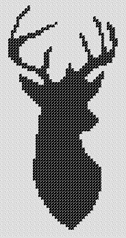 Cross Stitch Pattern - Buck Head Silhouette - Chart - by kanitted Diy Embroidery, Cross Stitch Embroidery, Embroidery Patterns, Cross Stitch Charts, Cross Stitch Patterns, Cross Stitch Silhouette, Vintage Cross Stitches, Cross Stitch Animals, Tapestry Crochet