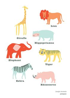 Poster Jungle Animal - Red/Pink