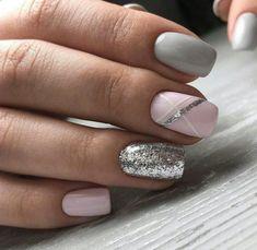 Beauty Nails – Nail Art Design Nagellack # Nagellack # Nageldesign - Make-up Geheimnisse Beauty Nails - Nail Art Design Esmaltes # Esmaltes # Nail Design de unha Fancy Nails, Trendy Nails, Cute Nails, Classy Nails, Sparkly Nails, Shellac Nail Designs, Nails Design, Pedicure Designs, Grey Nails With Design