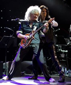 Brian May and Alice Cooper at the Sunflower Jam at the Royal Albert Hall.