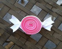 Polka Dotted Caterpillar Ribbon Sculpture Hair Clip by leilei1202