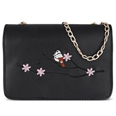 Bird Tree Branch Embroidery Women Chain Bag
