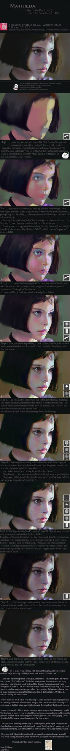 "Realistic Drawing Techniques Mathilda, One of my favorite character in movie ""Léon: The Professional"" was played by Natalie Portman. Photo study, around 10 hours. Tools used : Photoshop CC Wacom - Digital Painting Tutorials, Digital Art Tutorial, Art Tutorials, Painting Process, Process Art, Painting Tips, Performance Artistique, Graphisches Design, Art Graphique"