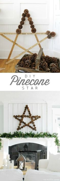DIY: How to Make a Pinecone Star - using yard sticks, hot glue and pinecones - via Ella Claire Inspired