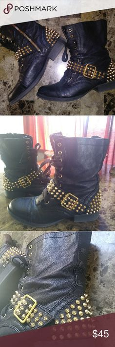 STEVE MADDEN Gold Spiked Combat Boots 6 Excellent condition, no real flaws! Nice gold sturdy studded spikes....very comfy!!! Steve Madden Shoes Combat & Moto Boots