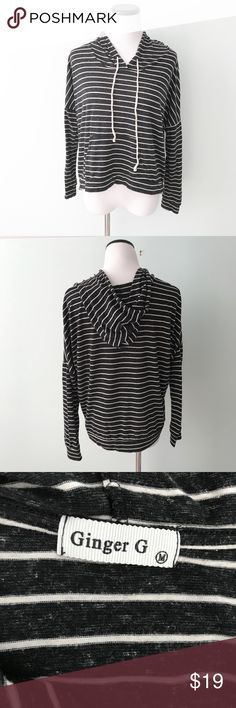 """Ginger G Black white marled striped hooded Top Gently worn. Black and white marled hooded top. Kangaroo pocket. Length 21"""" Ginger G Tops"""