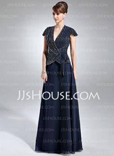 Mother of the Bride Dresses - $170.49 - A-Line/Princess V-neck Floor-Length Chiffon Mother of the Bride Dress With Beading (008005936) http://jjshouse.com/A-Line-Princess-V-Neck-Floor-Length-Chiffon-Mother-Of-The-Bride-Dress-With-Beading-008005936-g5936
