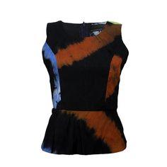 Adire Batik Peplum Top Multicoloured African blouse by Urbanknit