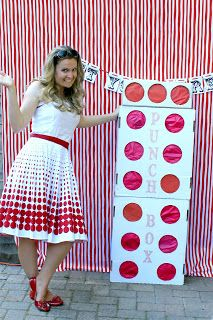 While Wearing Heels: Party Punch Box. A modern take on a pinata. Party punch box. Each party guest gets to punch a hole through the punch box and retrieve a toy from inside.