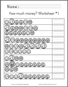 How Much Money Worksheet #1 - Students are asked to count assortments of quarters, nickels, dimes, and pennies, in American currency. Fronts and backs are shown. Free to print. CCSS.MATH.CONTENT.2.MD.C.8