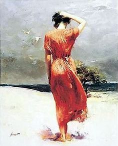 Amazing oil painting of a woman on the beach.